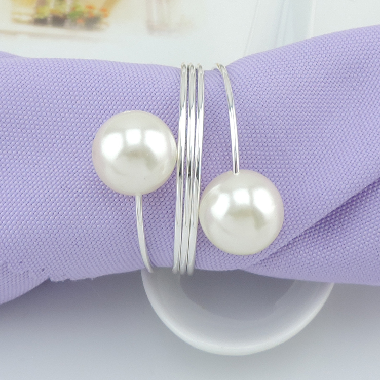 Silver Metal Napkin Rings Pearl Napkin Ring for Wedding Table Decoration 100pcs lot customized item