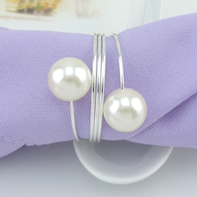 Silver Metal Napkin Rings Pearl for Wedding Table Decoration