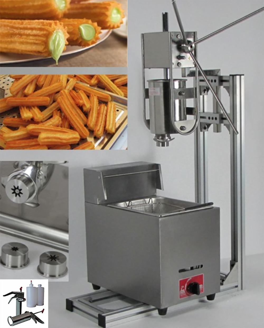 4 in 1 3L Manual Churros Maker + Working Stand + 6L Gas Fryer + 700ml Churros Filler<br><br>Aliexpress