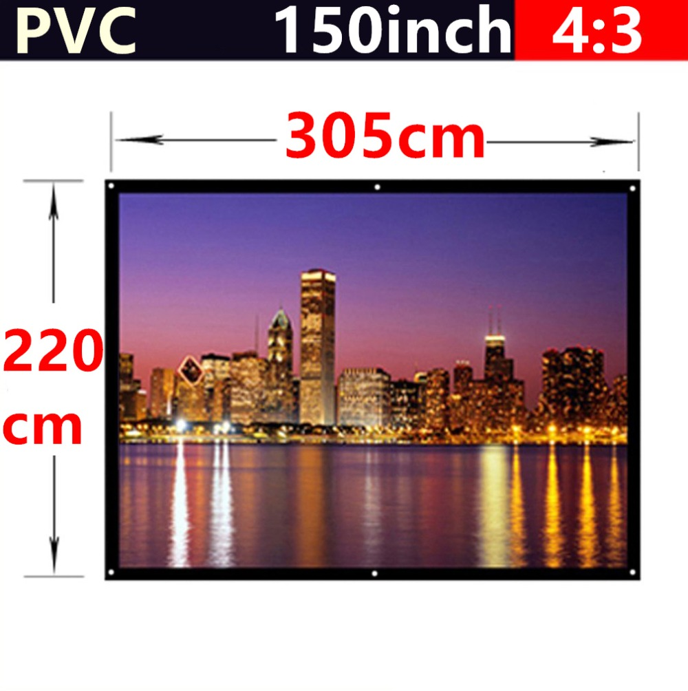 Фотография whole sale 150 Inch 4:3 PVC Fabric Matte With 1.1 Gain projection screen Wall Mounted for all 3d led dlp hd mini home projectors
