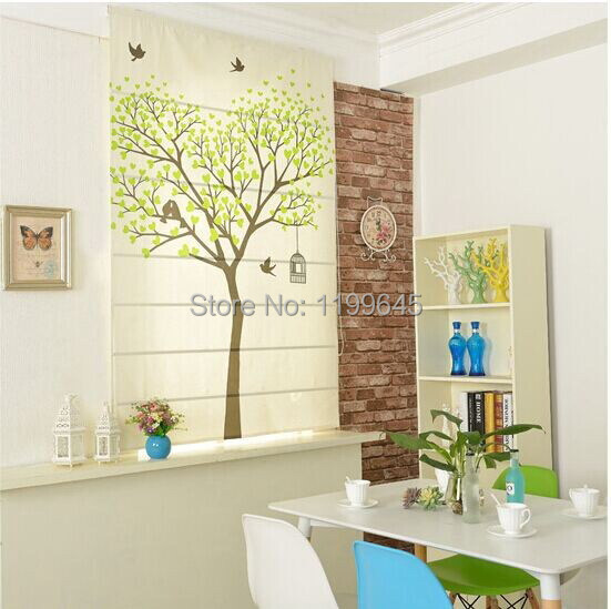 Included Curtains New Arrival Thickening Lovely Tree Roman Shade Blinds The Finished Curtain free Shipping(China (Mainland))