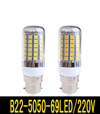 B22 12W 5050 SMD 69LED Bulb White / Warm White 220V Corn Light spotlight LED Lamp bulbs(China (Mainland))
