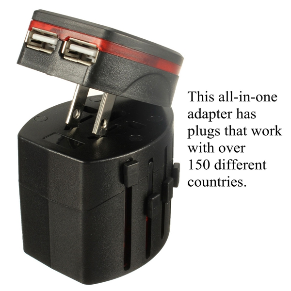 New All Black in One Universal International Plug Adapter 2 USB Port World Travel AC Power Charger Adaptor with AU US UK EU Plug(China (Mainland))