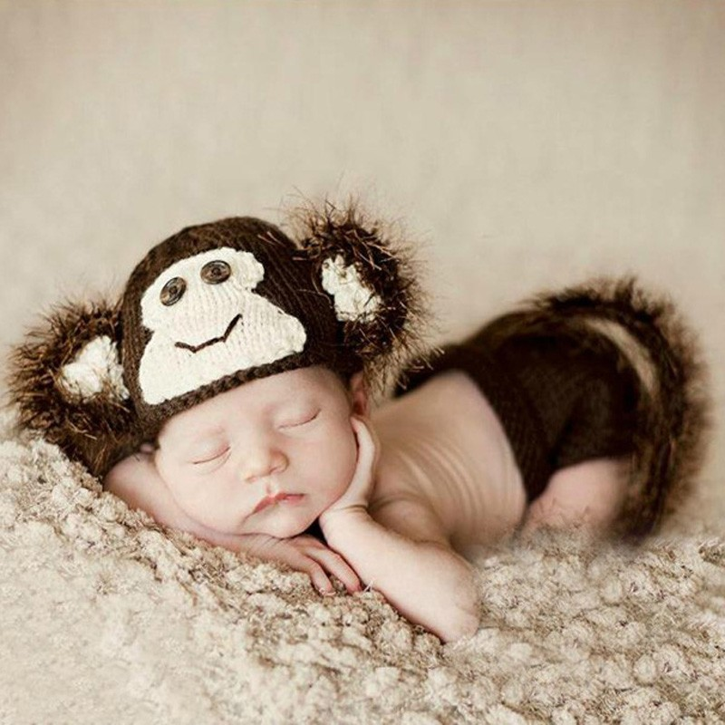 0-8 Months Newborn Baby Clothing Set Monkey Costume Crochet Photo Props Photography SY43(China (Mainland))