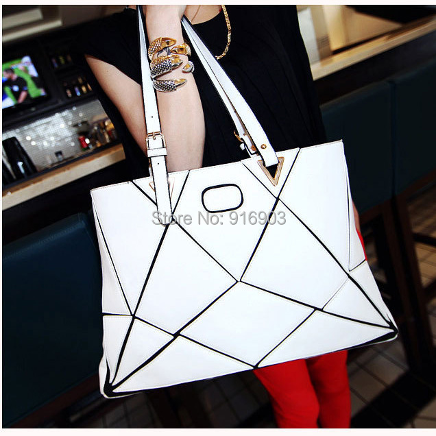2015 New Stylish Water Cube Patchwork Handbags,Women's Large PU Leather Tote,Brand Modern Designed European Shoulder Bags,SJ102(China (Mainland))