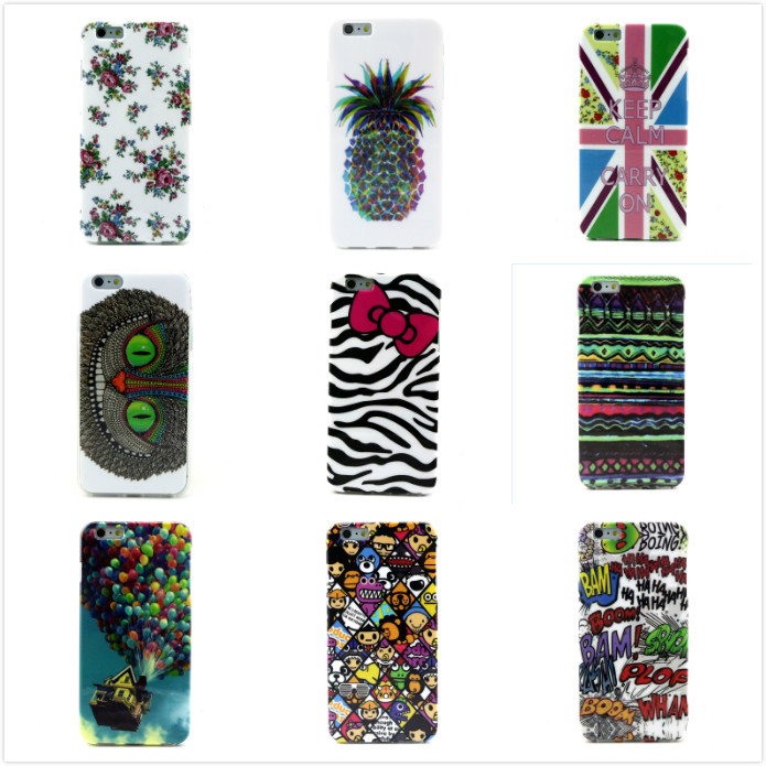 Tribe Aztec Tribal Cartoon Owl Colorful Floral Pineapple Painted Silicone Skin Case for Apple iPhone 6 Plus Soft TPU Back Covers(China (Mainland))