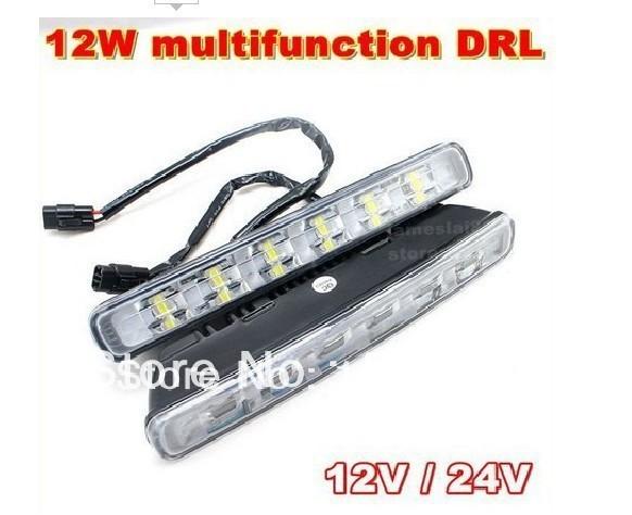 New update Multifunction 12W LED Daytime Running Light Full aluminum housing 12V 24V DRL flash with steering free shipping