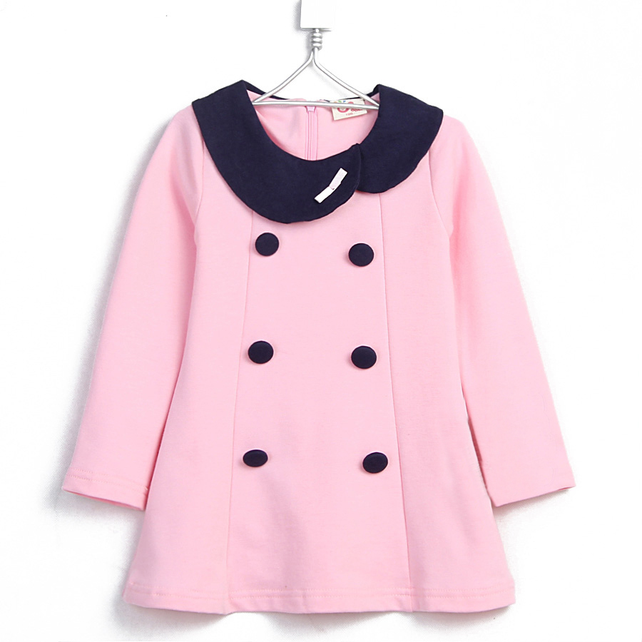 2015 spring solid color dress baby girls double-breasted cute dress long sleeve A-line dress A1637(China (Mainland))