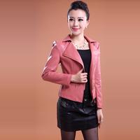 Осень плюс размер женщин новый стиль второй слой овчины кожаные куртки женщин тонкий короткий дизайн куртки