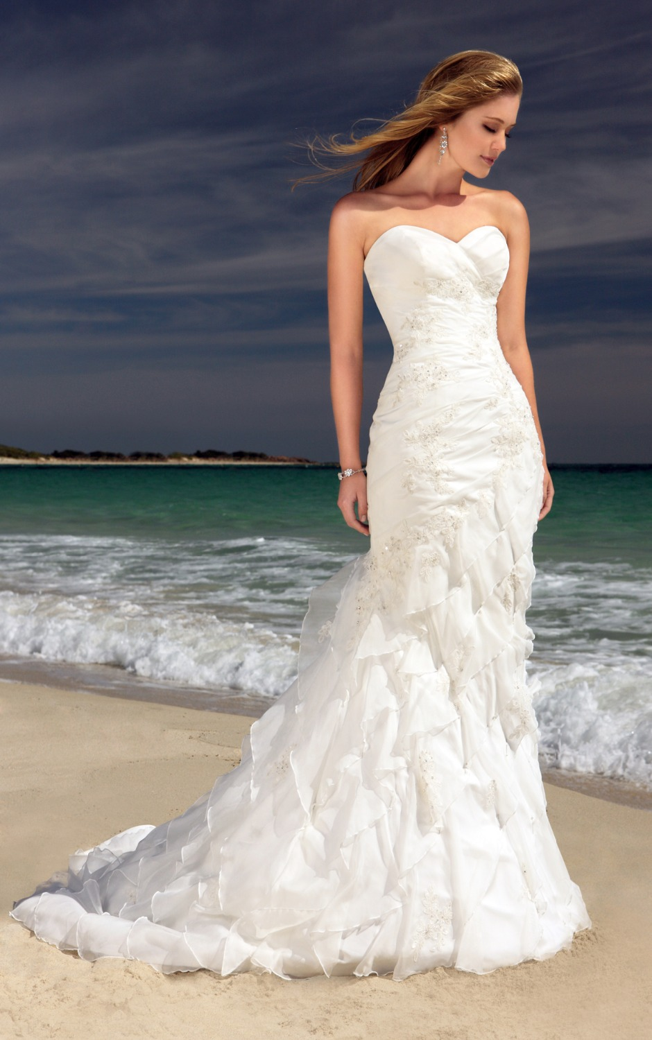 Mermaid sweetheart pleated lace appliqued beaded tiered for Beach style wedding dresses