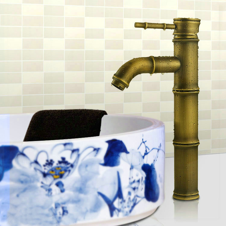 Antique Brass Faucet Bamboo Bathroom Basin Sink Mixer Tap Faucets bathroom faucets price(China (Mainland))
