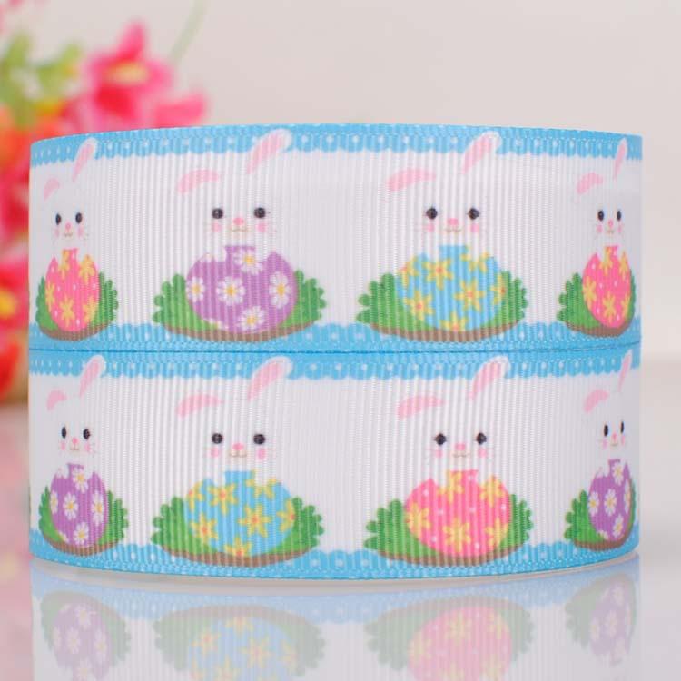 "10yards 7/8"" (22mm) Lovely cartoon Rabbit Eggs Easter ribbon,Happy Easter Rabbit haibow ribbon(China (Mainland))"