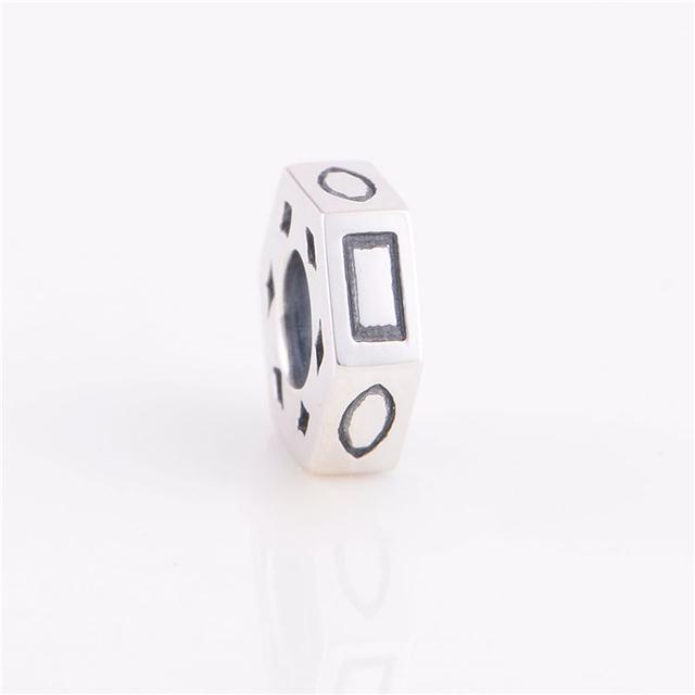 Геометрия альтернативный шарм стерлингового серебра 925 шариков прокладки бусины женщины ювелирные изделия подходит Chamilia подвески браслет прямая поставка