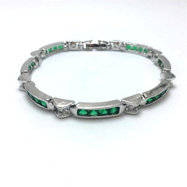Bracele for Women Fashion Lady's bangles Emerald Sapphire Green Zircon Fine Jewelry 14KT White Gold Filled(China (Mainland))