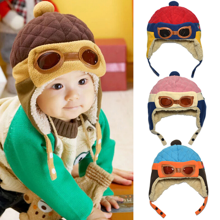 Hot sales Toddlers Cool Baby Boy Girl Kids Infant Winter Pilot Aviator Warm Cap Hat # YE117(China (Mainland))