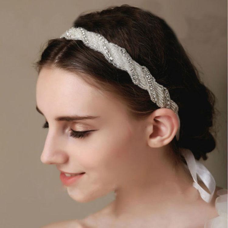 New elegant geometric shape rhinestone headbands crystal silk band bride bridal headband wedding hair accessories(China (Mainland))