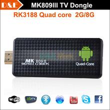 MK809III Android TV Stick Quad Core RK3188 Box1.8Ghz 2G/8G Mini PCs TV Sticks Media Player Miracast Bluetooth XBMC MK808 Update(China (Mainland))