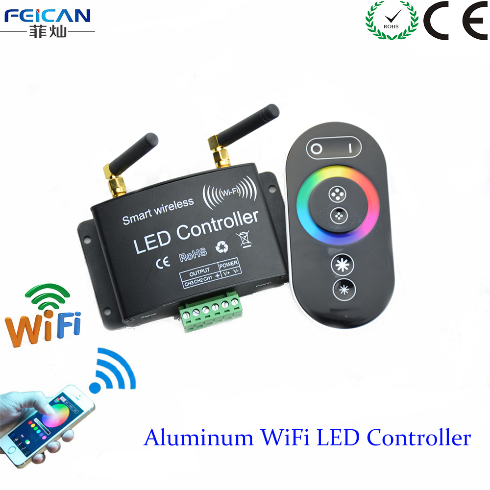 DC12-24V RGB Wifi LED Controller RF Touch Remote Control Controller By Android/IOS APP For SMD5050 3528 RGB LED Strip(China (Mainland))