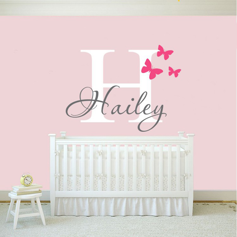 personalized sticker decor flying softball wall art wall stickers for girls bedrooms pink collection butterfly