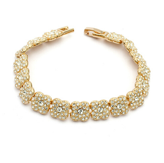 Clear Crystal 18K Gold Plated Bracelet Jewelry Made Genuine Austrian Crystals IBC047 - szwxfx store (MOQ:15USD store)