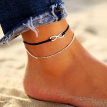 אם לי BOHO Multilayers בעלי החיים Anklets נשים בציר כסף צבע צב פגז חוף קרסול צמיד על רגל תכשיטים(China)