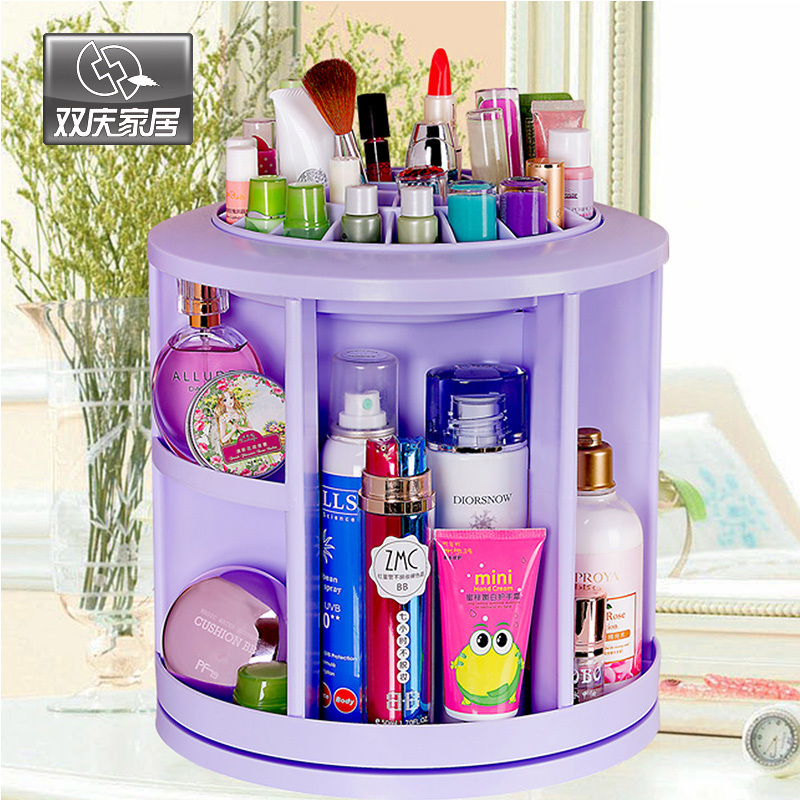 Double celebration home 360 degree rotation Desktop cosmetic finishing storage box large storage shelf creative dresser 20151(China (Mainland))