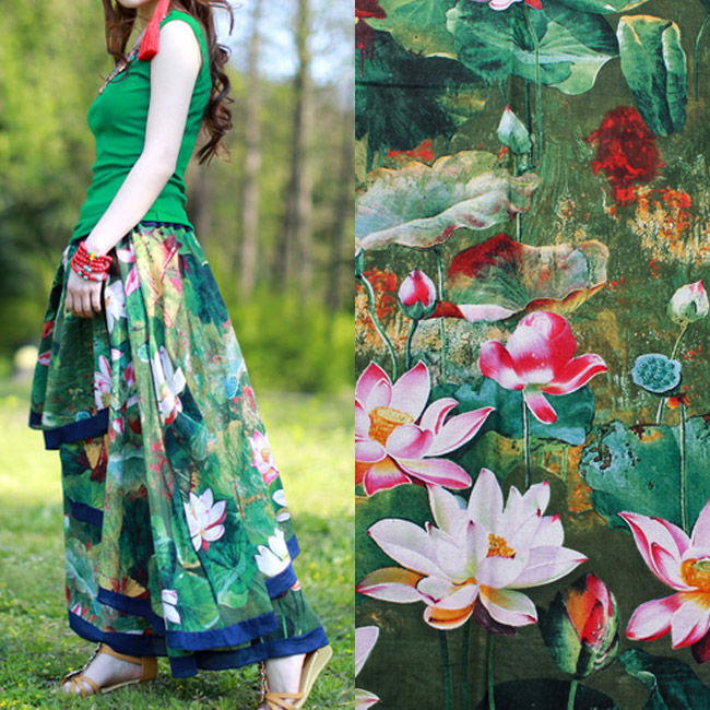 1 meter linen/cotton printing fabric us$10.5/meter 147cm imitation wax cloth lotus art curtain table cloth skirt decoration(China (Mainland))