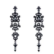 Women Long Earrings with Stones vintage rhinestones chandelier earrings gothic girls jewelry earrings black stud ersh34(China (Mainland))
