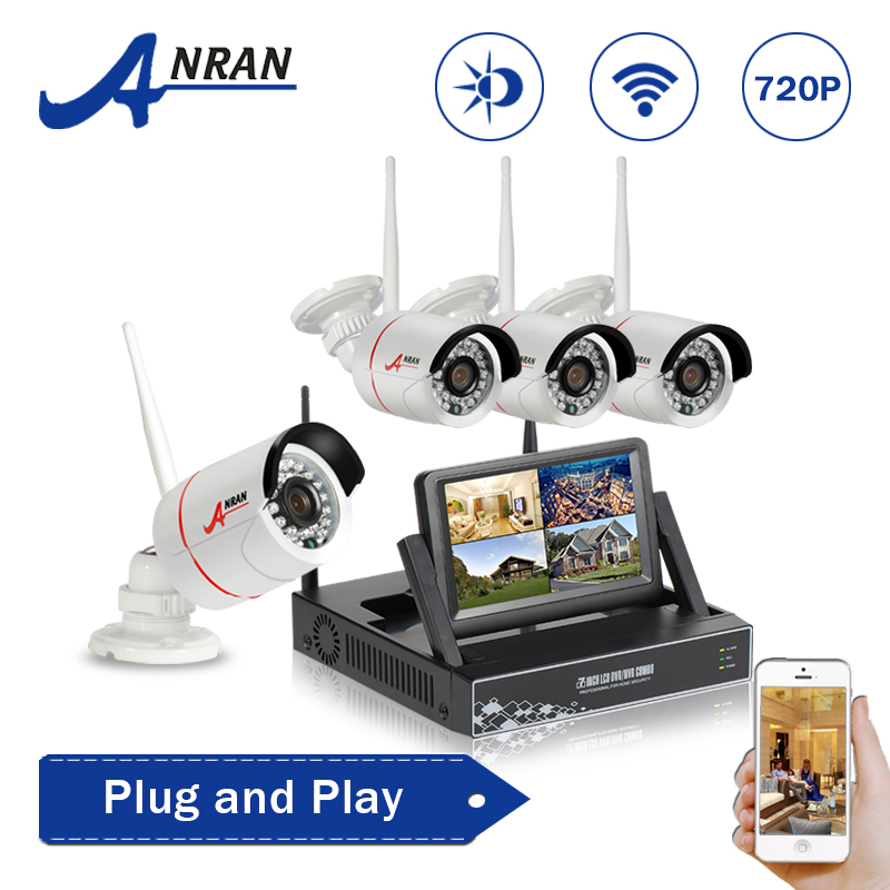 ANRAN Plug and Play Wireless 4CH 7 Inch LCD Screen NVR Wifi CCTV Kit 720P HD Surveillance Outdoor Security Camera System 1TB HDD(China (Mainland))