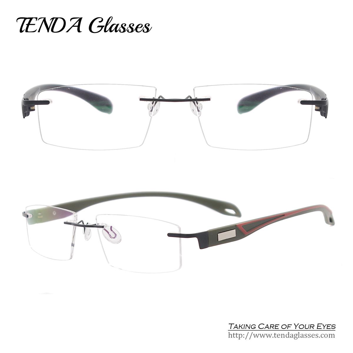 Men Fashion Colorful Lightweight Spectacles TR90 Rimless Eyeglass Frames Prescription Square Glasses For Optical Lenses(China (Mainland))