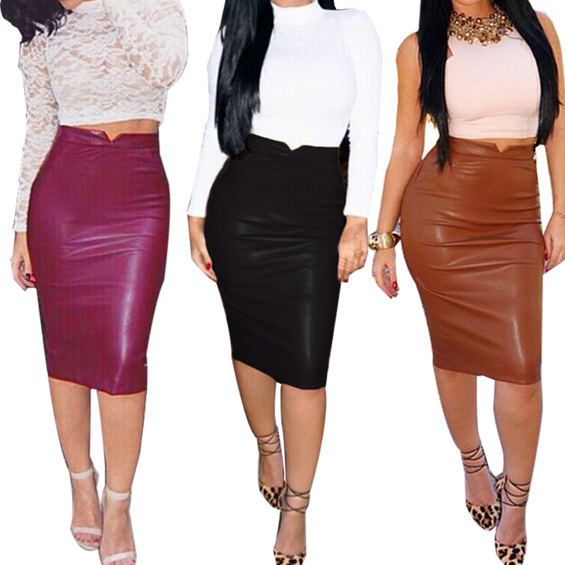 2016 Winter Autumn Women PU Leather Skirt High Waist Pencil Skirts Sexy Club Wear Vintage ...