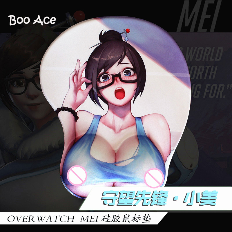 Anime Over Watch Mei Big Breast 3D Mouse Pad silica gel Wrist Rest(China (Mainland))