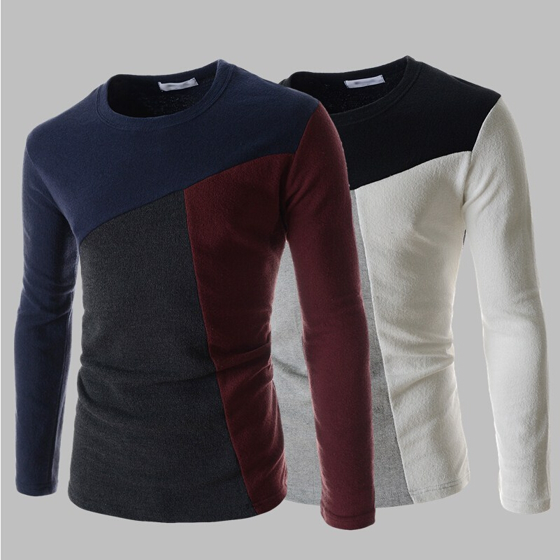 2015 men 39 s fashion leisure cotton round collar color for High end men s shirts