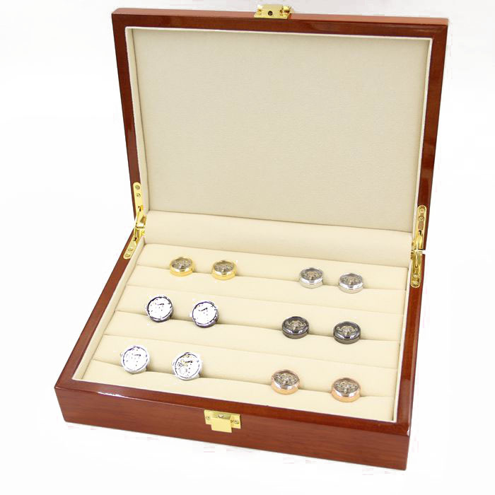 Cufflinks Gift Box 20pairs Capacity Cufflinks box High Quality Painted Wooden Box Authentic 240*180*55mm Free Shipping(China (Mainland))