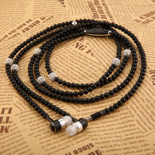 New Fashion Bling Diamond Pearl Necklace Chain Earphone Stereo Earphones With Mic For iphone Samsung SmartPhone PC Elegant Style(China (Mainland))
