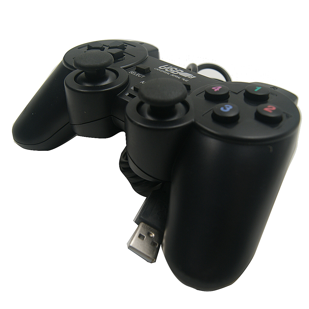 TOP Quality Black Shock Controller Gamepad with joystick shock and mini USB for pc computer game