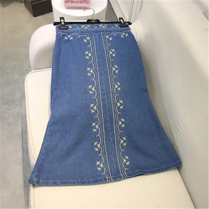 Summer women embroidery denim skirt ladies jeans skirts casual women pleated midi skirt vintage saia longa faldas largas ZY1175(China (Mainland))