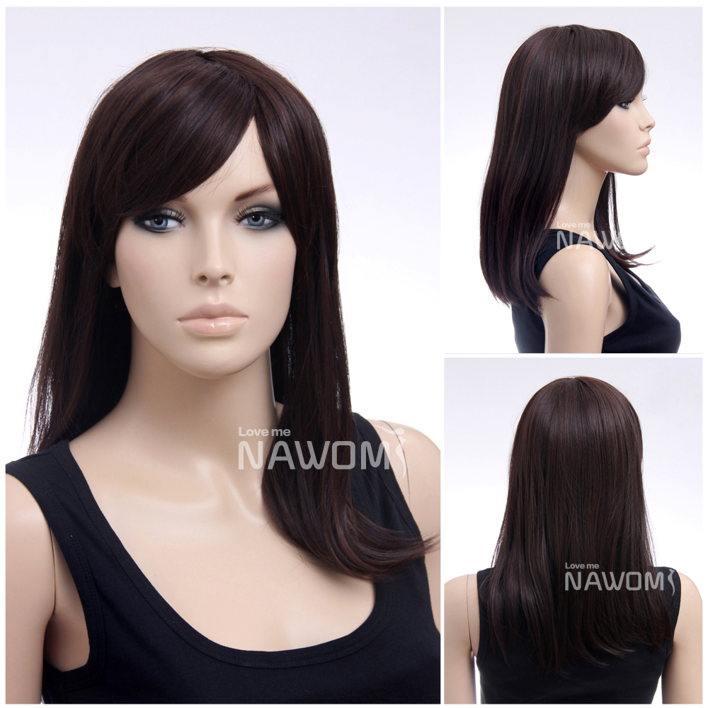FreeShipping Discount wig Hot Selling Chestnut color wig oblique bangs long straight wig girl  supple shawl wig<br><br>Aliexpress