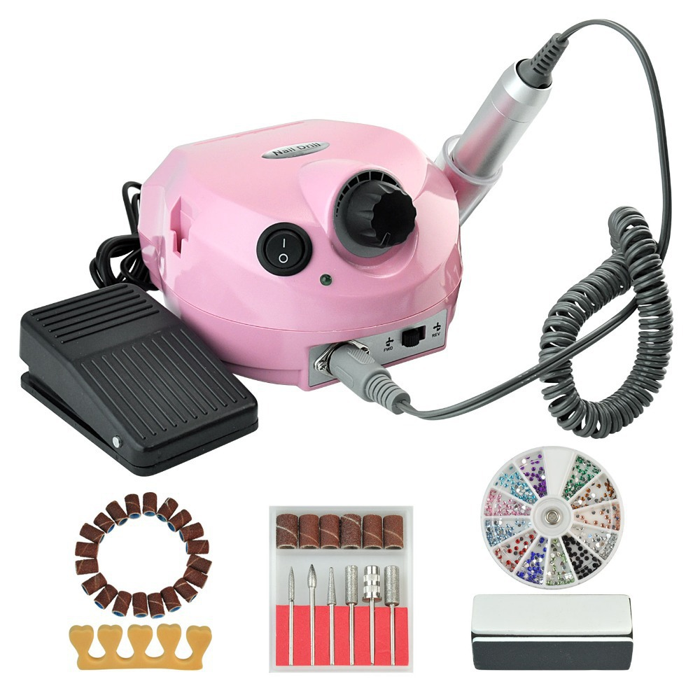 Фотография New Pro Electric Nail Drill Machine High Quality Nail Drill Set 6 Bits Manicure Nail Art Tools