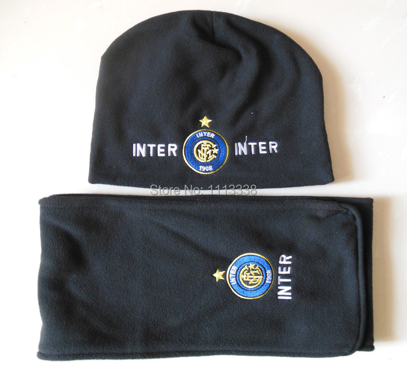 Inter Milan Fans Winter Fleece Hat Scarf Suits 155*20cm(China (Mainland))
