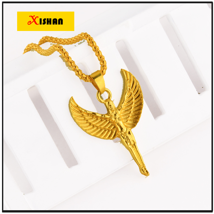 collares largos 2016 trendy Jewelry Hip hop long necklace plated High quality crystal Angel pendant Fashion Gold Chain For Men(China (Mainland))