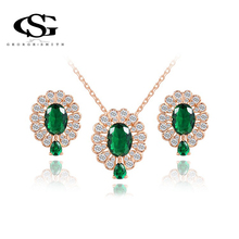 G&S Brand 18K Real Gold Plated  Drop Earrings and Pendant Necklace Jewelry Sets,Green AAA Zircon for the Party Gifts set(China (Mainland))