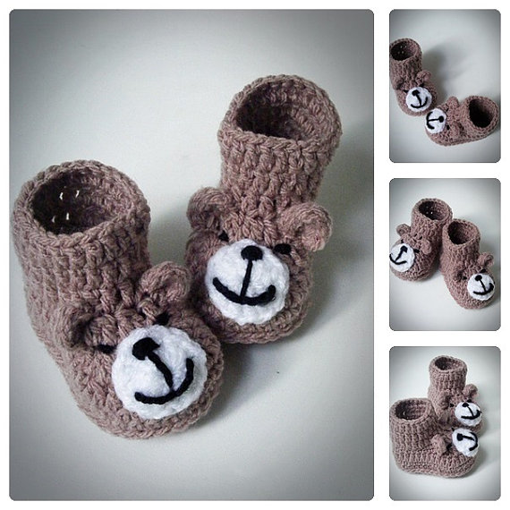 Crochet Teddy Bear Baby Booties,Knitted Baby Shoes,Newborn Infant Booties,Funny Booties for babies,Baby shower gift,choose size(China (Mainland))