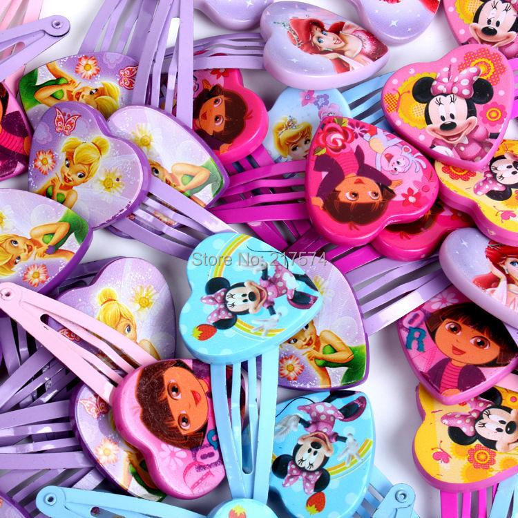 12Pair/lot New Cartoon Children Princess Hair Pins Minnie Mouse Tinkerbell Princess Dora Multiple Designs Girl Hair Clips(China (Mainland))