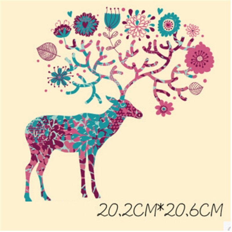 Deer Art PET kids Heat Transfer Film Paper Patches Painting hand dryed DIY Iron On Fabric Stickers for T-shirt For Apparel(China (Mainland))