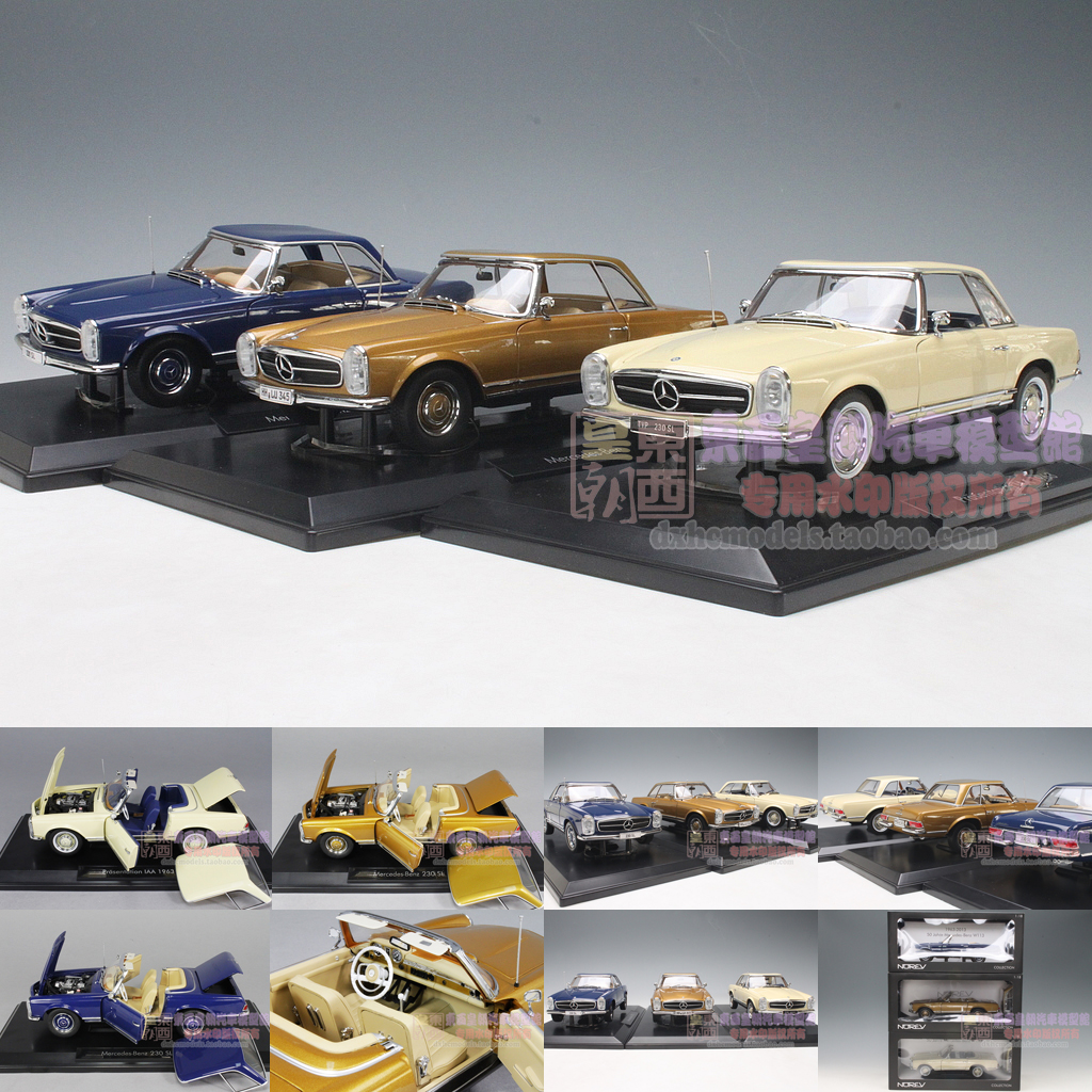 Nowell 1:18 Norev 1963 Mercedes Benz 230SL Blue / White / gold alloy car model<br><br>Aliexpress