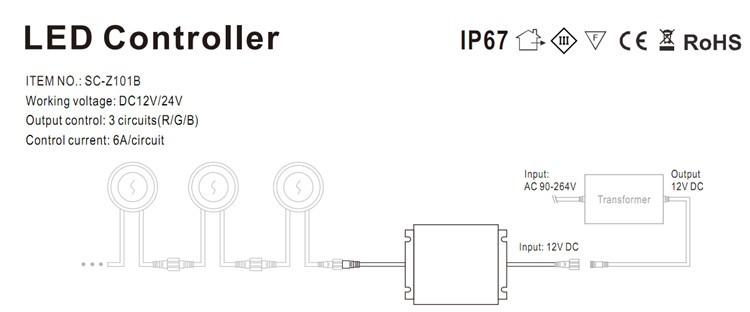 Купить Беспроводной Waterpoof IP67 216 Вт Вход DC12V LED RGB Контроллер Открытый используется для Палубы/Подземный/Метро/Шаг LED Light controller