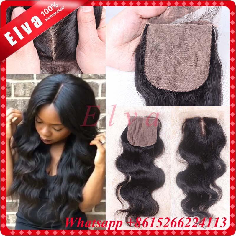 7A Cheap Silk Base Closure Virgin Brazilian Human Hair Silk Closure 4*4 Body Wave Silk Top Lace Closure Bleached Knots Free ship()