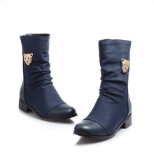 sweet style Soft Leather mid-calf women boots Plus Size 41 42 43 44 45 46 47 Round Toe Boots - LUKU CO., LIMITED store
