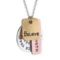 New Arrival Letter Believe Strength Round Square Pendant Necklace For Women Jewelry Meaningful Necklace